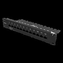 DELTACO 10-PATCH16 Patch Panel, 12 Ports, Cat6, UTP, Black / 10-PATCH16