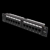 """10 """"patch panel, 12xRJ45, Cat6, 1U, 110-terminal, unshielded, metal, black / 10-PATCH17"""