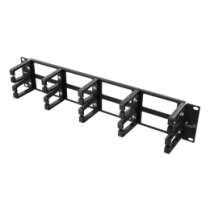 """19"""" cable management, metal/plastic, 10 loops and feedthrough, 2U DELTACO black / 19-17"""