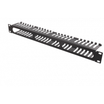 """DELTACO 19 """"cable panel, 1U, cable handling, black / 19-24"""