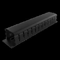 "19 ""cable handler, metal, finger channel and lead, 2U,  DELTACO black / 19-26"