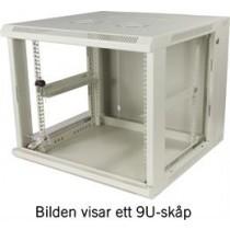 """TOTEN, 19 """"wall cabinets, 9U, 600x600, glass door + rear door, white (RAL 7035)  / 19-6609V"""