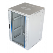 """19 """"wall cabinet, 18U, 600x600, glass front door and swing opening rear, 60kg load TOTEN (ZH6618.6100) white / 19-6618V"""