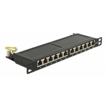 """DeLOCK 10 """"12-port patch panel, Cat6a, 0.5U, crown tool, shielded, for 22-24AWG cables, black/ 43312"""