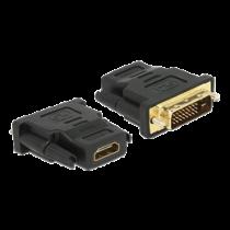 DeLOCK DVI to HDMI adapter, DVI 24 + 1 pin, HDMI 19 pin female, gold plated connectors, black / 65466