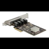Delock PCIe x4 Gigabit LAN 4x RJ45 +Low profile
