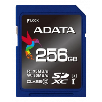 Memory card A-DATA Premier Pro SDXC, U3, 256GB, class 10, read/write 95/60 MB/s, blue / ADATA-183