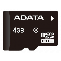 Memory card A-DATA microSDHC, 4GB, speed class 4, black AUSDH4GCL4-R / ADATA-185