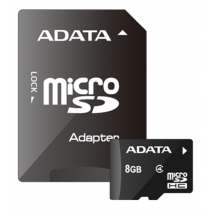 Memory card ADATA MicroSDHC, Class 4, 8GB, incl. adapter, black AUSDH8GCL4-RA1 / ADATA-311