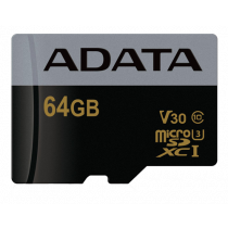Memory card A-DATA Premier Pro MicroSDXC, 64GB, UHS-I, U3, Class 10, silver / ADATA-394