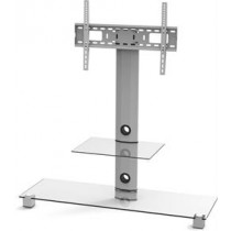 EPZI TV stand, glass, aluminum, max 40kg, Silver  / ARM-801A
