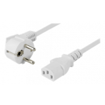 DELTACO cable, angled CEE 7/7 to IEC 60320 C13, 10m, max 250V / 10A, white DEL-111AV