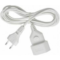 Brennenstuhl unplugged appliance cable for extension between unit and wall outlet, straight CEE 7/16 to straight IEC 60906-1, max 250V / 2.5A, 3m white 1161660 / DEL-118A