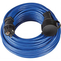 Brennenstuhl earthed rubber extension cord, straight CEE 7/7 to straight CEE 7/4 (Schuko), IP 44, 25m , blue 1169820 / DEL-118U