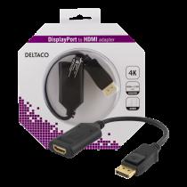 DELTACO DisplayPort to HDMI 2.0b adapter, 4K in 60Hz, active, HDCP 2.2, 3D, 0.1m, black / DP-HDMI32-K