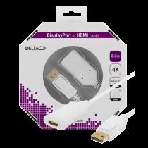 Кабель DELTACO DisplayPort к HDMI 2.0b, 4K при 60 Гц, 0,5 м, белый