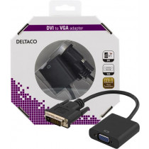 DELTACO DVI Adapter, DVI Dual Link to VGA, 24 + 1-pin Male to 15-pin Female, Black / DVI-VGA-K