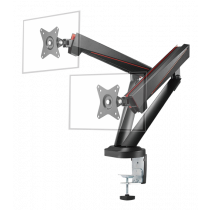"DELTACO GAMING Spring-Assited Pro Gaming Dual Monitor Arm, for 17-32 ""screens, VESA 75x75 / 100x100, black / GAM-102"