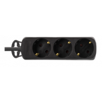 Розетка DELTACO с кабелем 3xCEE 7/4, 1xCEE 7/7, 1,5 м, черный