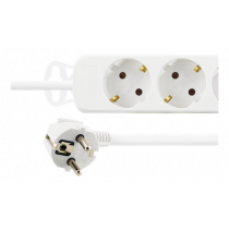 Power strip DELTACO 3 sockets, 1.5m, white / GT-118B