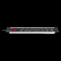 "Brennenstuhl Premium-Line Technic Aluminum, 8xCEE 7/4, 1xCEE 7/7, 19 ""1U, 2m, black / silver1390007018 / GT-650"