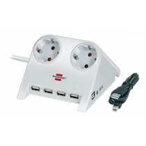 Brennenstuhl Desktop Power, Power Jack with USB Hub, 2xCEE 7/4, 1xCEE 7/7, 1.8m, White 1153520122 / GT-665