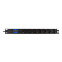 "DELTACO 19 ""PDU с 7 выходами CEE 7/4, 3500 Вт, амперметр и вольтметр,"