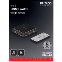 DELTACO HDMI Switch, 4 sources, 4K support, HDCP 1.4, black / HDMI-5001