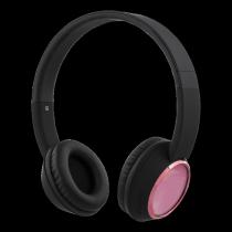 Наушники STREETZ, bluetooth, черно-розовые / HL-344
