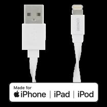 DELTACO Lightning cable, 1м, 2.4A, плоский кабель, MFi, белый