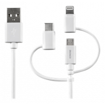 DELTACO USB-C / Micro USB / Lightning Sync / Charging Cable, MFi, 1m, 15W, USB Type A ha, white IPLH-179