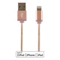 Phone cable DELTACO USB-Lightning iPhone, 1.0m, rose / IPLH-272