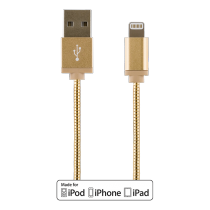 Phone cable DELTACO USB-Lightning iPhone, 1.0m, gold / IPLH-273