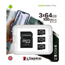 Kingston 64GB micSDXC Canvas Select Plus 100R A1 C10 3-pack + 1 ADP