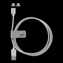 "Phone cable STREETZ, USB 2.0, ""A-micro B"", 1.0m, silver / MICRO-131"