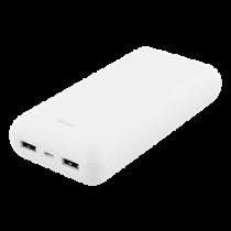 DELTACO 20 000 мАч Power bank, 2x USB-A, 2.1A, светодиодный индикатор, белый