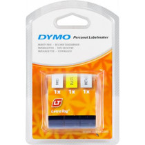 DYMO LetraTAG plasttejp, 3-pack gul/silver/vit, 12mm, 4m (91241) DYMO / S0721800