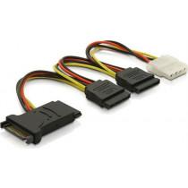 Adapter DELTACO 4 pin, 2x15 pin ATA, 15cm / SATA-16