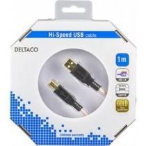 """Кабель DELTACO USB 2.0 """"A-B"""", 1.0м, белый-черный / USB-210-K"""