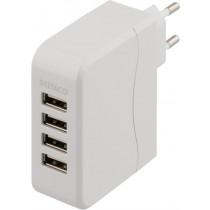Charging station DELTACO 100-240V, 4xUSB, 4.5A, white / USB-AC114