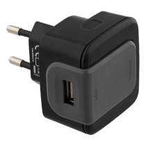 Phone charger DELTACO, 240V, 2.4A, black / USB-AC146