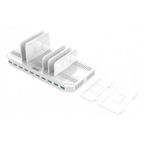 USB-AC153 96W USB Charging Station, 10xUSB-A, Qualcomm QuickCharge 3.0, 5V 2.4A, 11 disconnectors, plastic, white USB-AC153