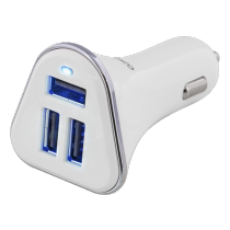 Car charger DELTACO, 5,2A, 3xUSB  white/silver / USB-CAR102