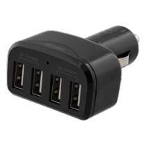 Car Charger DELTACO, 4.8A, 4xUSB, black / USB-CAR118