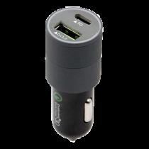 Car charger DELTACOIMP USB Type-C, 18W, double Ports, QC 3.0, black / USB-CAR79
