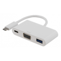 DELTACO USB-C to VGA and USB Type A adapter, USB-C ho for charge, 60W, 1080P, 5Gb / s, white / USBC-1069