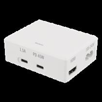 Docking Station DELTACO 45W USB-C PD, 4K HDMI, USB 3.1 Gen 1, white / USBC-1288