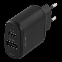 DELTACO wall charger 230V to 5V USB, 3A 15W, 1xUSB-C, 1xUSB-A, black / USBC-AC103