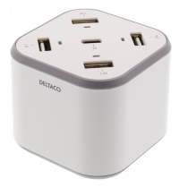 DELTACO USB wall charger with 4 USB-A ports, 1 USB-C port, 5V / 8.4A, 1.2m cable, white / USBC-AC112