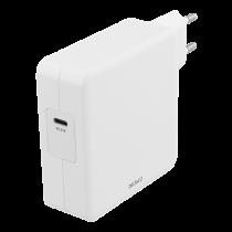 DELTACO 87W USB-C Блок питания, быстрая зарядка, USB-C PD, белый